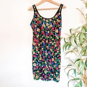 Vintage Silk Floral Beaded Sequin Holiday Dress